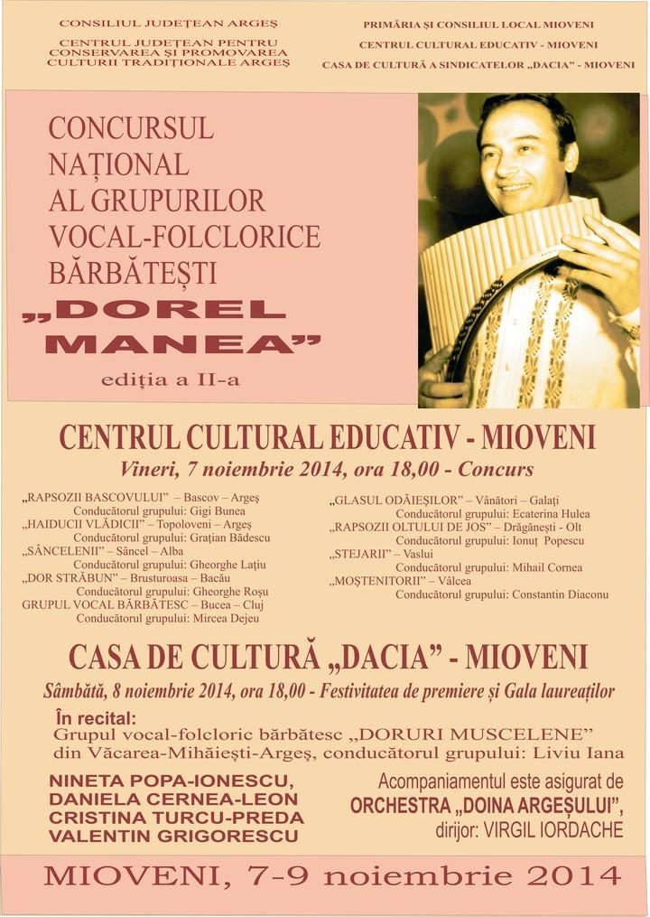 """Concursul naţional al grupurilor vocal-folclorice bărbăteşti """"DOREL MANEA"""" la Casa de Cultură Mioveni"""