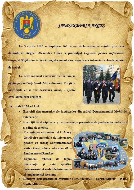 Jandarmii argeșeni fac chef pe 3 aprilie