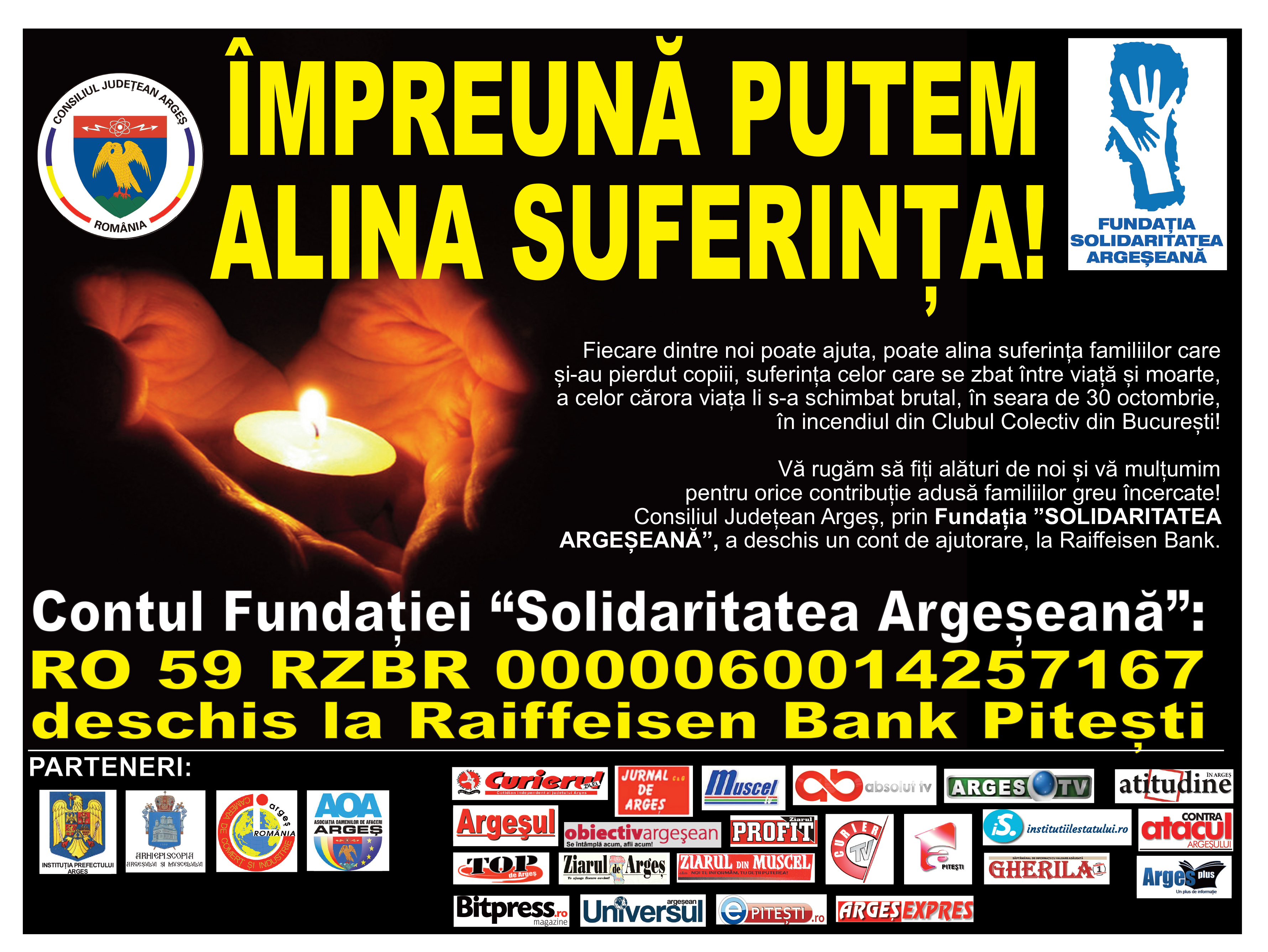 Consiliul Județean Argeș a demarat o campanie de strângere de fonduri pentru victimele din Argeș ale tragediei din Clubul Colectiv