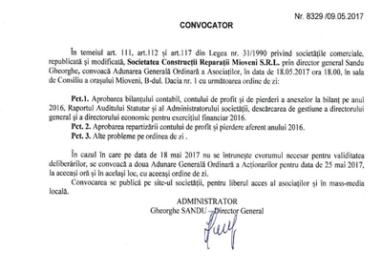 CONVOCATOR AGA -Societatea Construcții Reparații Mioveni S.R.L