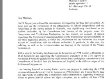 Ce i-a scris SECRETARUL GENERAL adjunct al COMISIEI EUROPENE lui TUDOREL TOADER